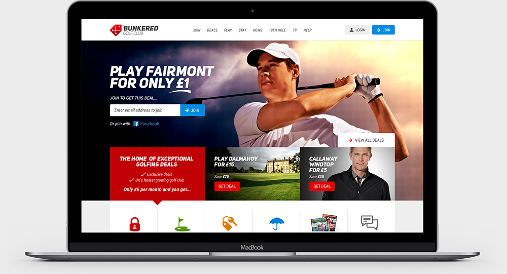 Bunkered Club - Website Homepage Design
