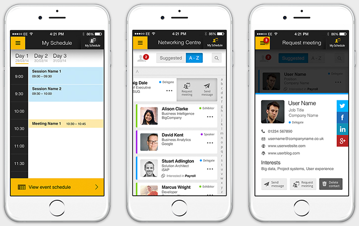 Confergo - iPhone App v3 Designs - Schedule, Networking Centre and User Profile