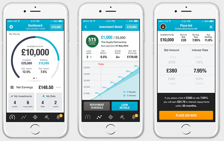 LendingCrowd - iPhone app design - Dashboard, Investment detail, Place bid
