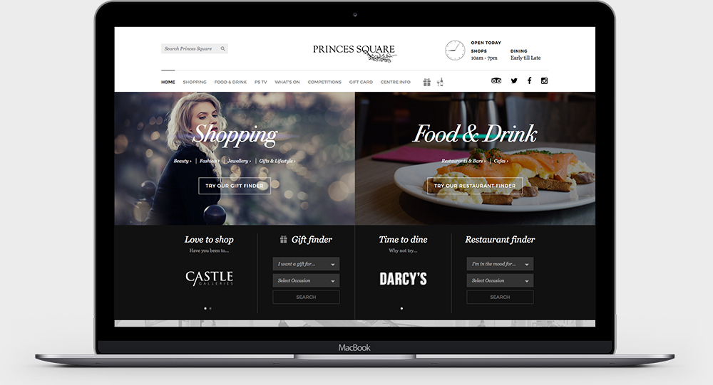 Princes Square - Website homepage design